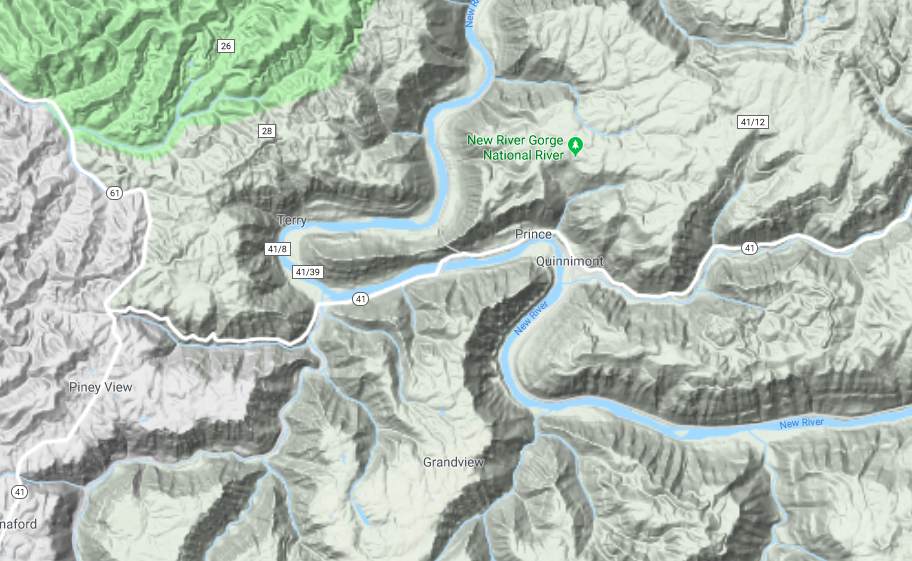 This topographical map illustrates how rugged the terrain is in the surrounding area as well as the many twist and curves of the New River.