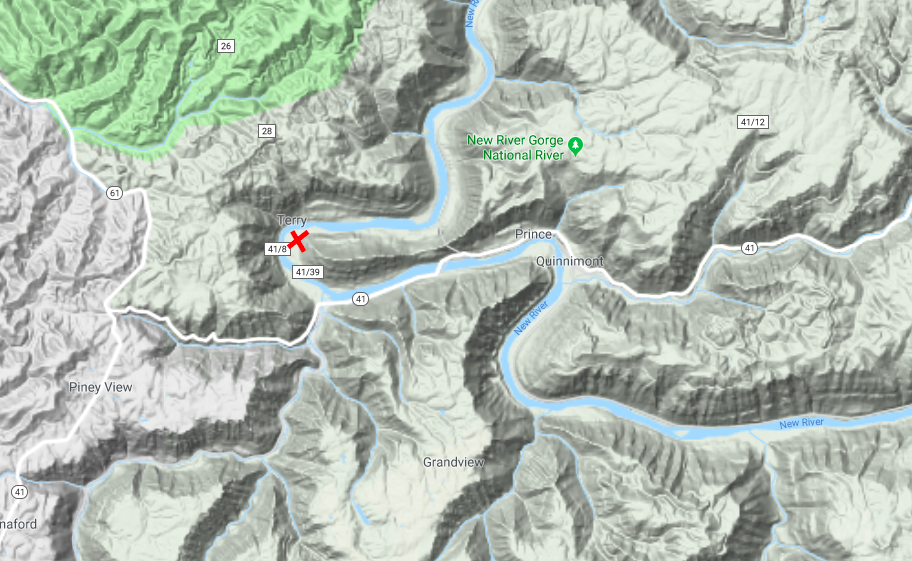 This topographical map illustrates how rugged the terrain is in the surrounding area as well as the many twits and curves of the New River. Camp Prince location is indicated with a red X on the map, just across the bank from Terry, WV. (Google Maps)