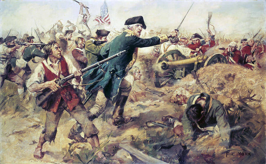 A painting of the Battle of Bennington, 1777. The battle actually took place in New York, about ten minutes from where the marker is located.