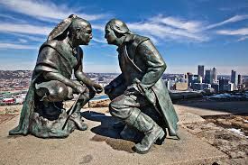 The artist depicts Washington & Guyasuta sharing their points of view above a scenic park known for its commanding view of the Pittsburgh cityscape.