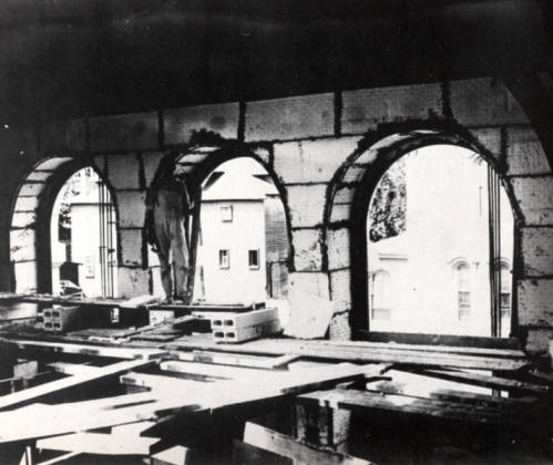 Construction of the interior of James V. Brown Library