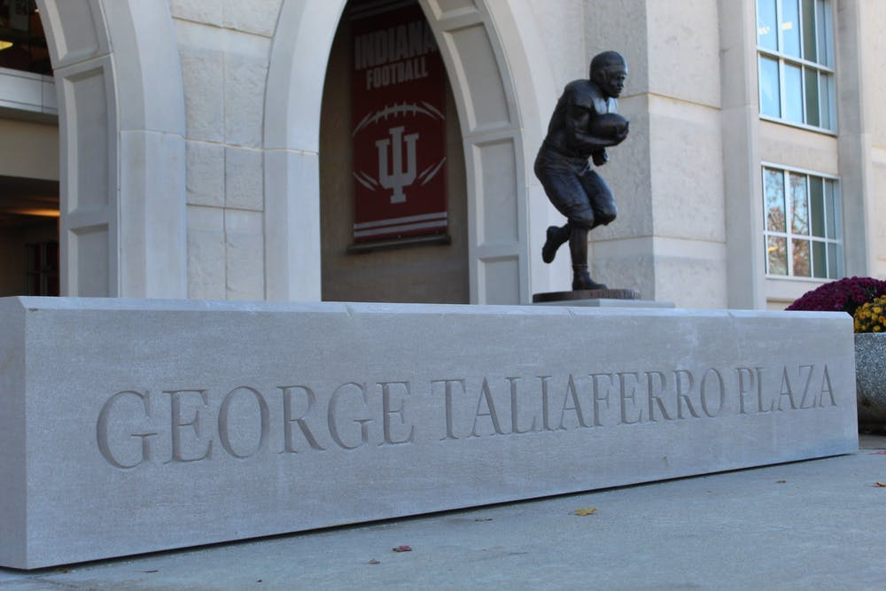Statue of George Taliaferro at the plaza now named after him and his accomplishments at Indiana 2019.