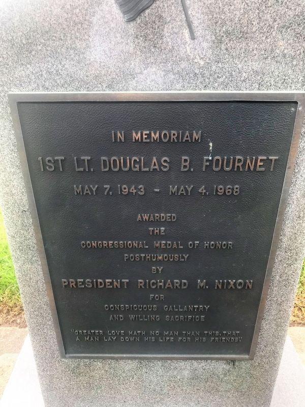 Photo was taken February 28, 2018. Retrieved from: https://www.hmdb.org/marker.asp?marker=114501  1st. Lt. Douglas B. Fournet Memorial Marker along 9th Street in Kinder, Lousiana.