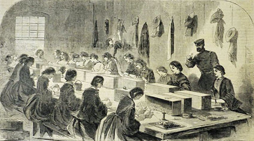 A depiction of work being done in a similar arsenal in Massachusetts, published July 1861, Harper's Weekly,