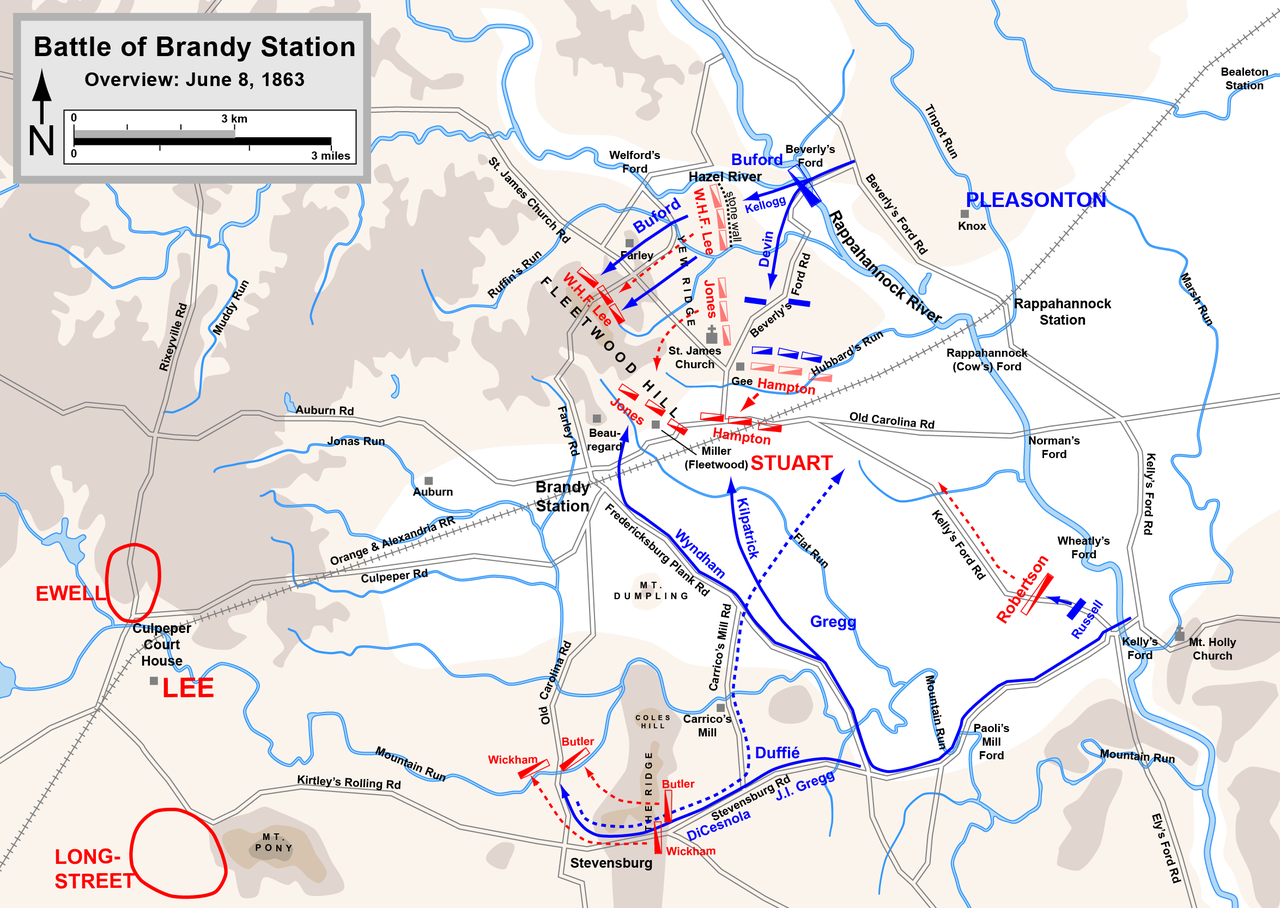 This map overlay details the Battle of Brandy Station. Note where the two Union forces chose to cross the river. This mass separation on the battlefield led to confusion on the south end and ultimately cost the battle. (Google Images)