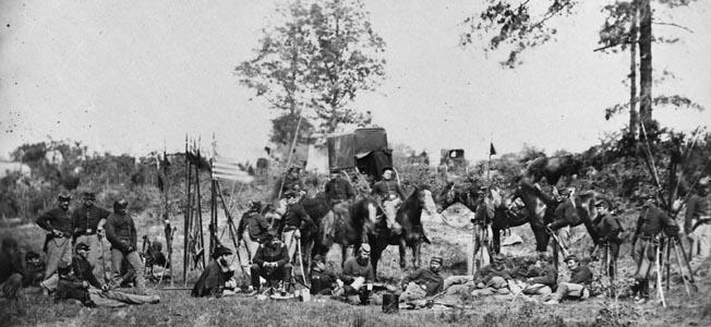 Soldiers from the 6th Pennsylvania Cavalry are seen here recouperating after the day-long battle. Men from this unit would see most of the battle at St. James Church and would also suffer more casualties than any of the other regiments that day.