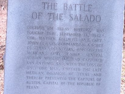 The Battle of the Salado Marker located in San Antonio, Texas.
