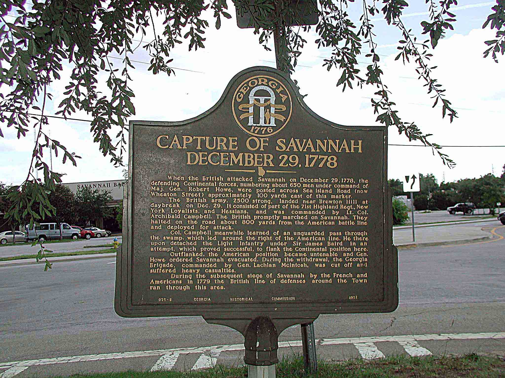 The Capture of Savannah marker, located in Savannah Georgia.