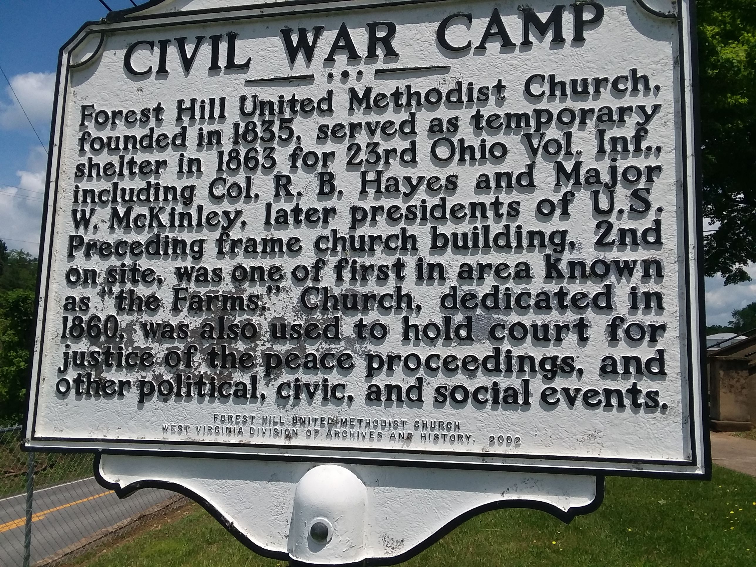 This Historical Marker is located in front of the Forest Hill United Methodist Church and was dedicated in 2002