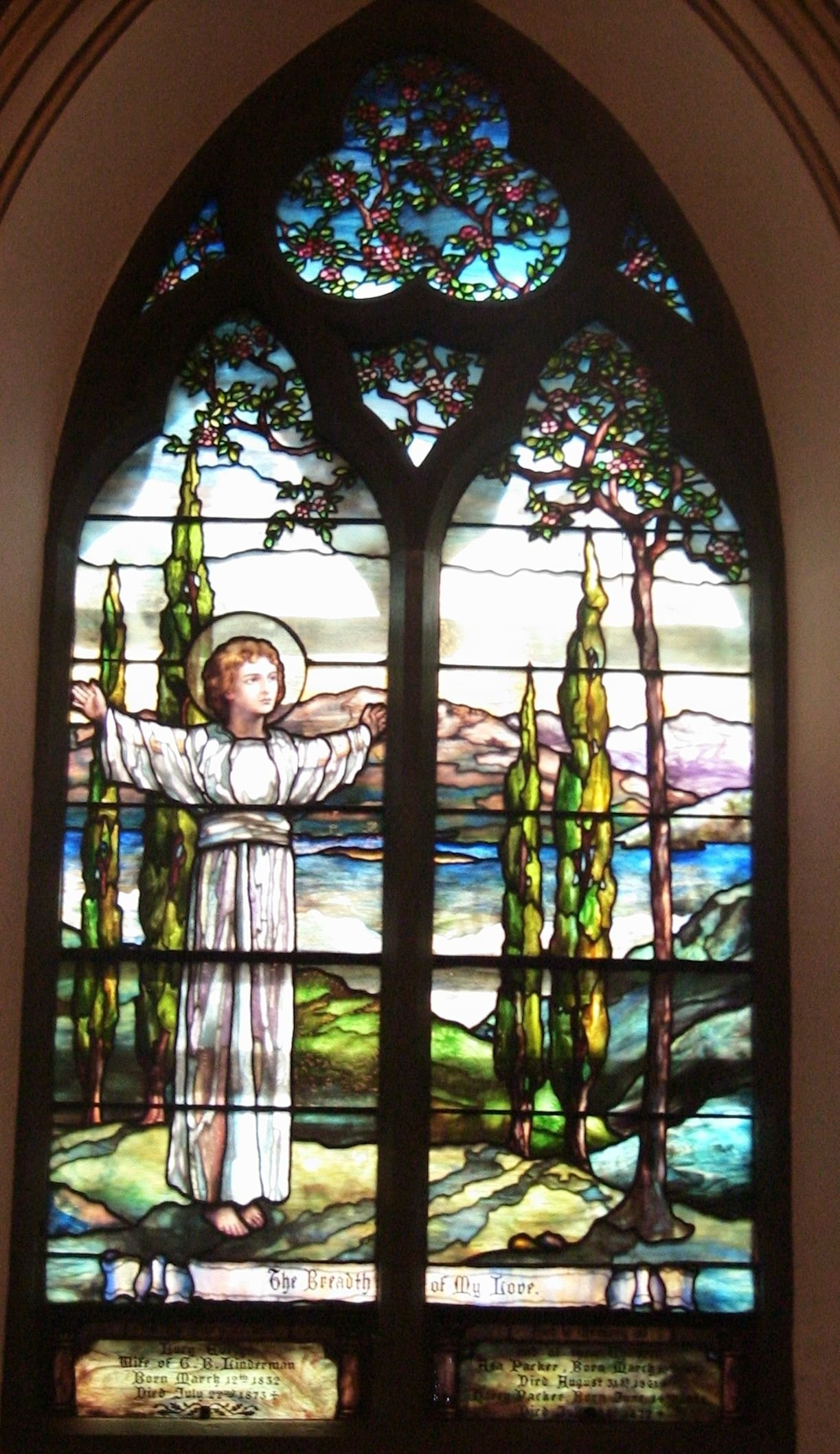 "One of St. Mark's Tiffany windows entitled ""Breadth of my Love"" which was added in 1912."