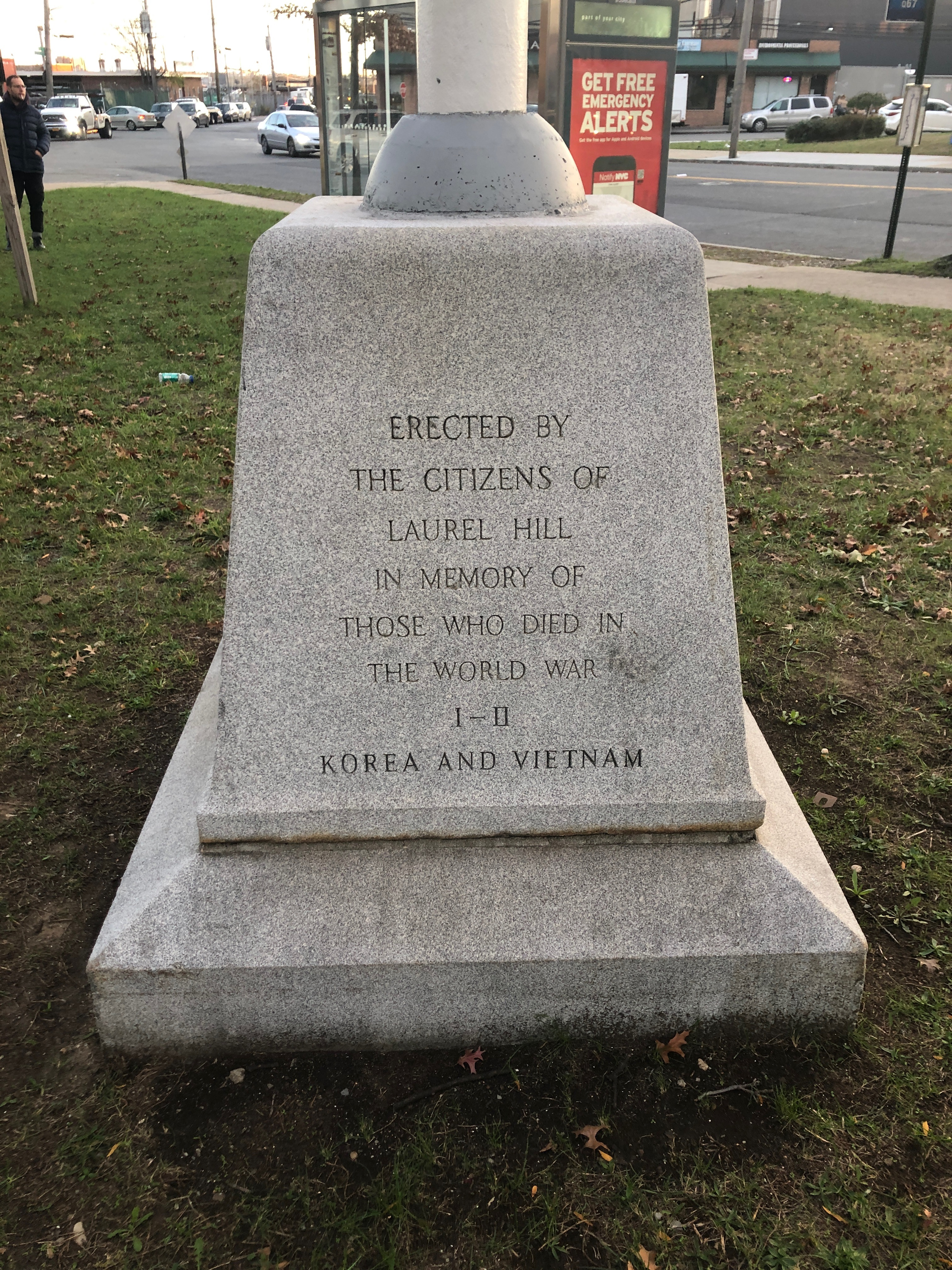 Inscription upon the granite base of the flagstaff