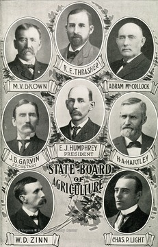 Photos of the members of the WV State Board of Agriculture in 1907. Zinn is featured in the bottom left corner.   Photo courtesy of West Virginia History on View.