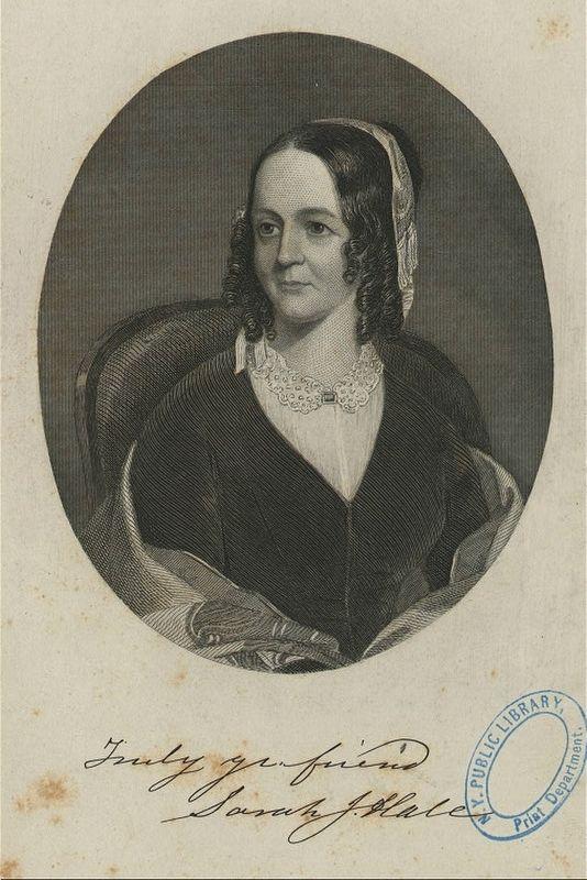 Portrait of Sarah Josepha Hale with her original signature on it