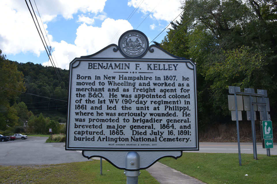 The marker for Gen. Kelley in Philippi, WV. 
