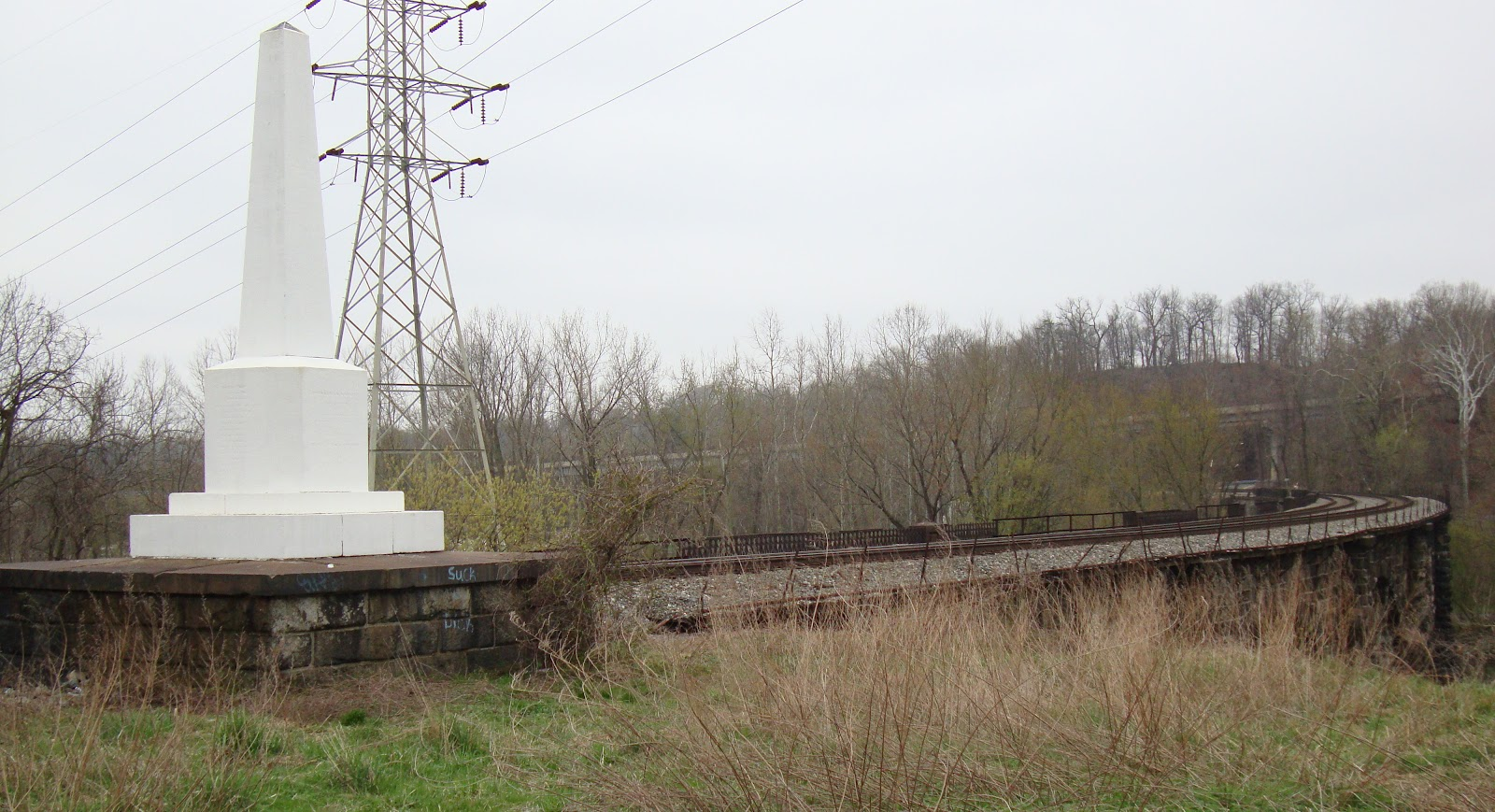 The viaduct's Builder's Monument has been encased to protect it from vandals and the elements.