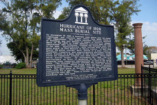 This historical marker was added for the 75-year anniversary of the hurricane.