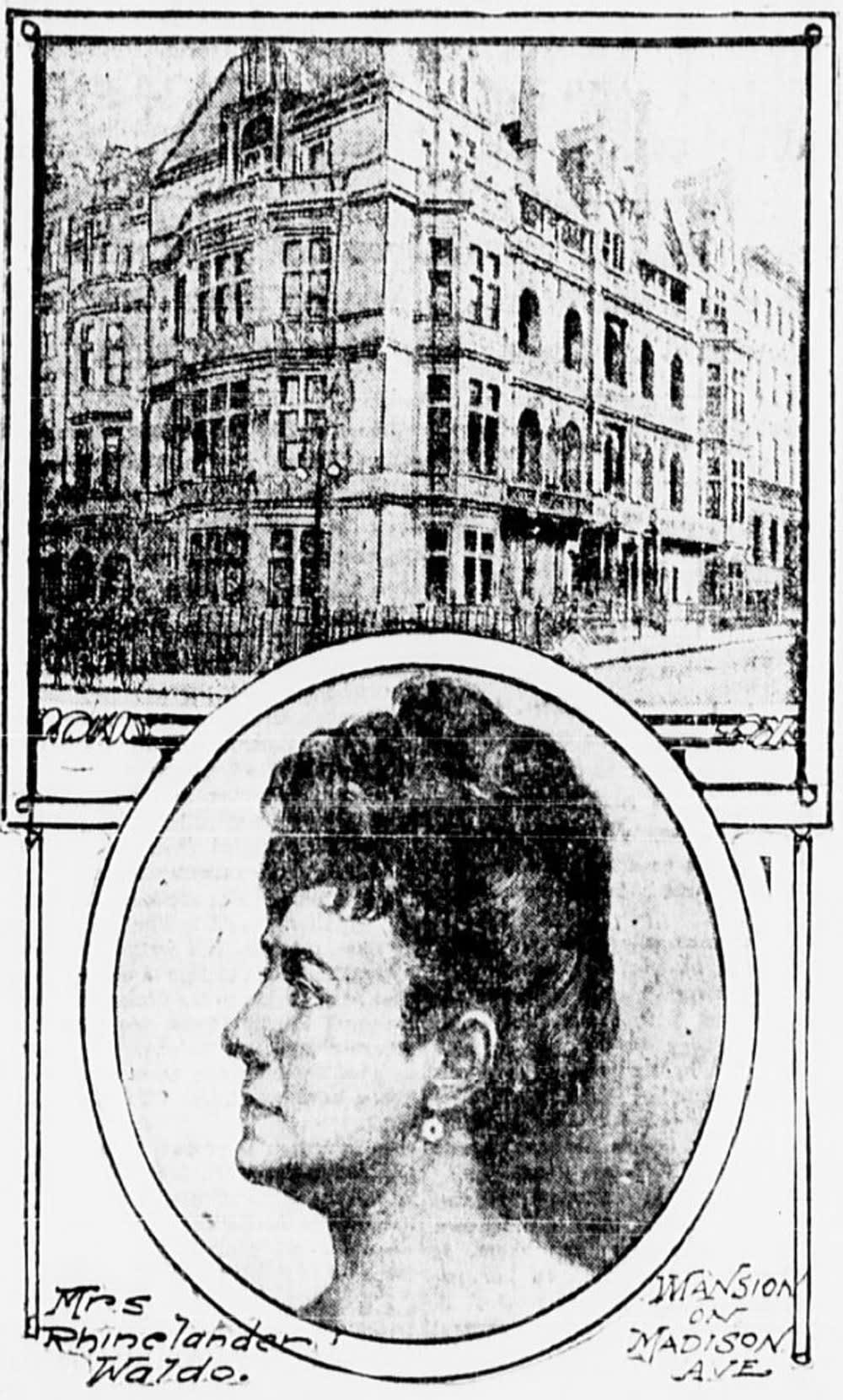 An engraving of Mrs. Waldo and her mansion