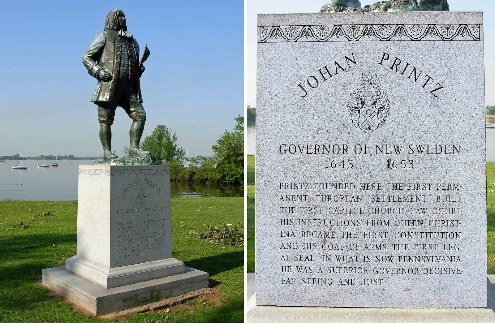 The statue of Governor Johan Printz and accompanying historical information.