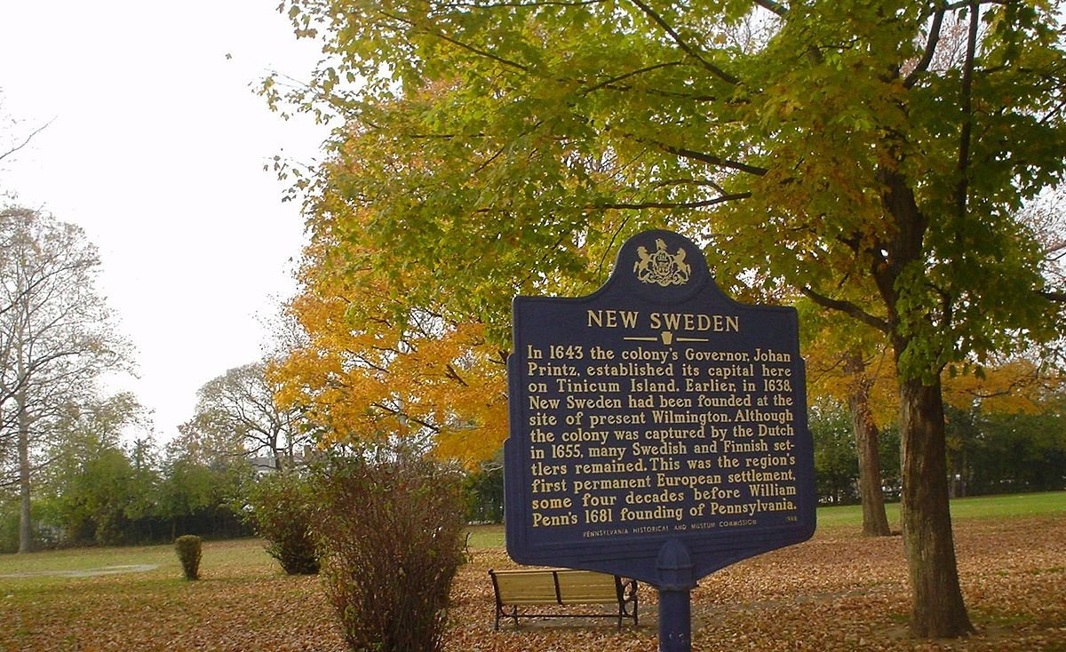 The New Sweden historical marker with Printz Park in the background.
