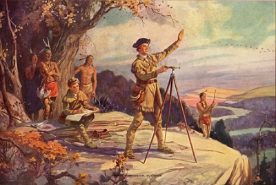 Painting of Washington's Land Surveying