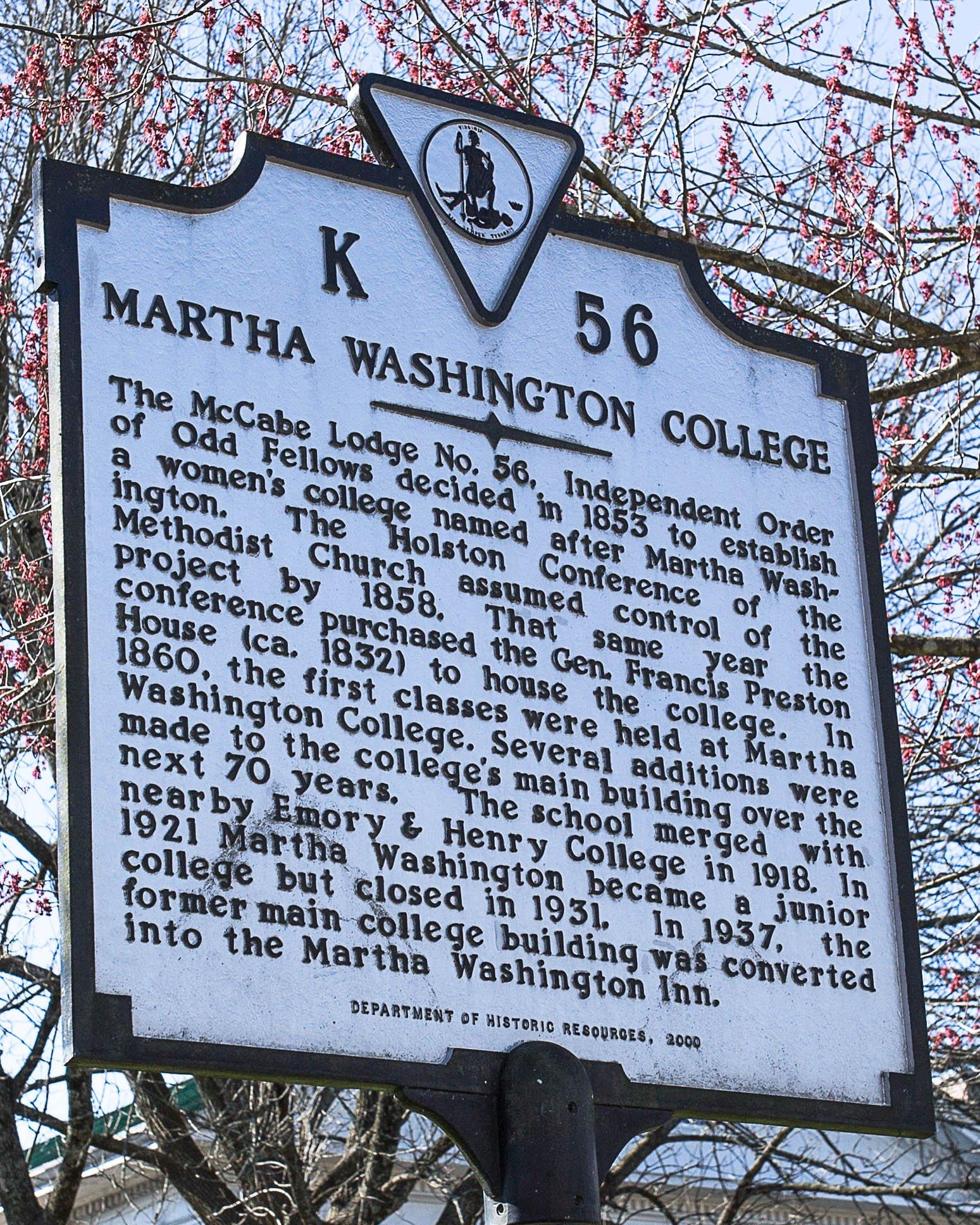 Martha Washington College historical marker