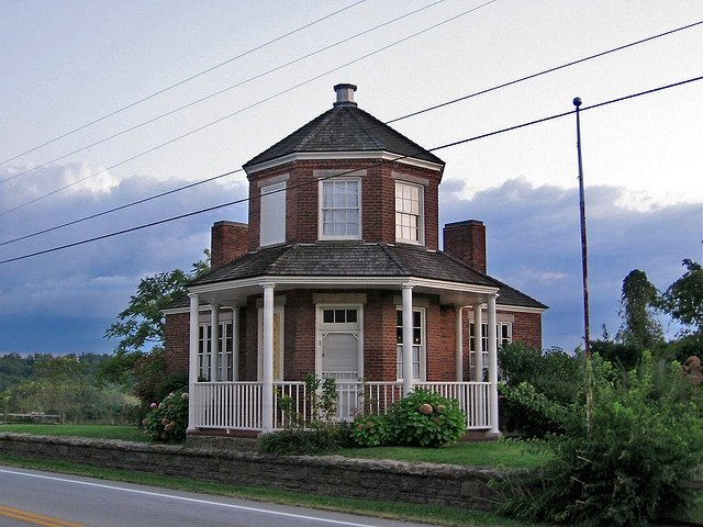 A head-on shot of the tollhouse with its unique octagonal design.