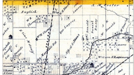 1872 Morgan County map, Land under George and Jno. Laurie section 3 and 4
