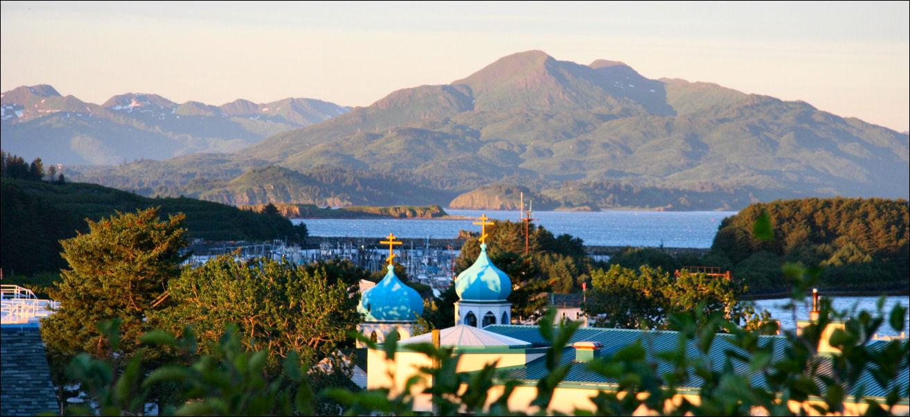 View of Holy Resurrection Russian Orthodox Church cupolas, Kodiak, Alaska