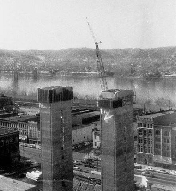 Construction  of the two elevator shafts, 1975.  Photo courtesy of Richard Bartram.