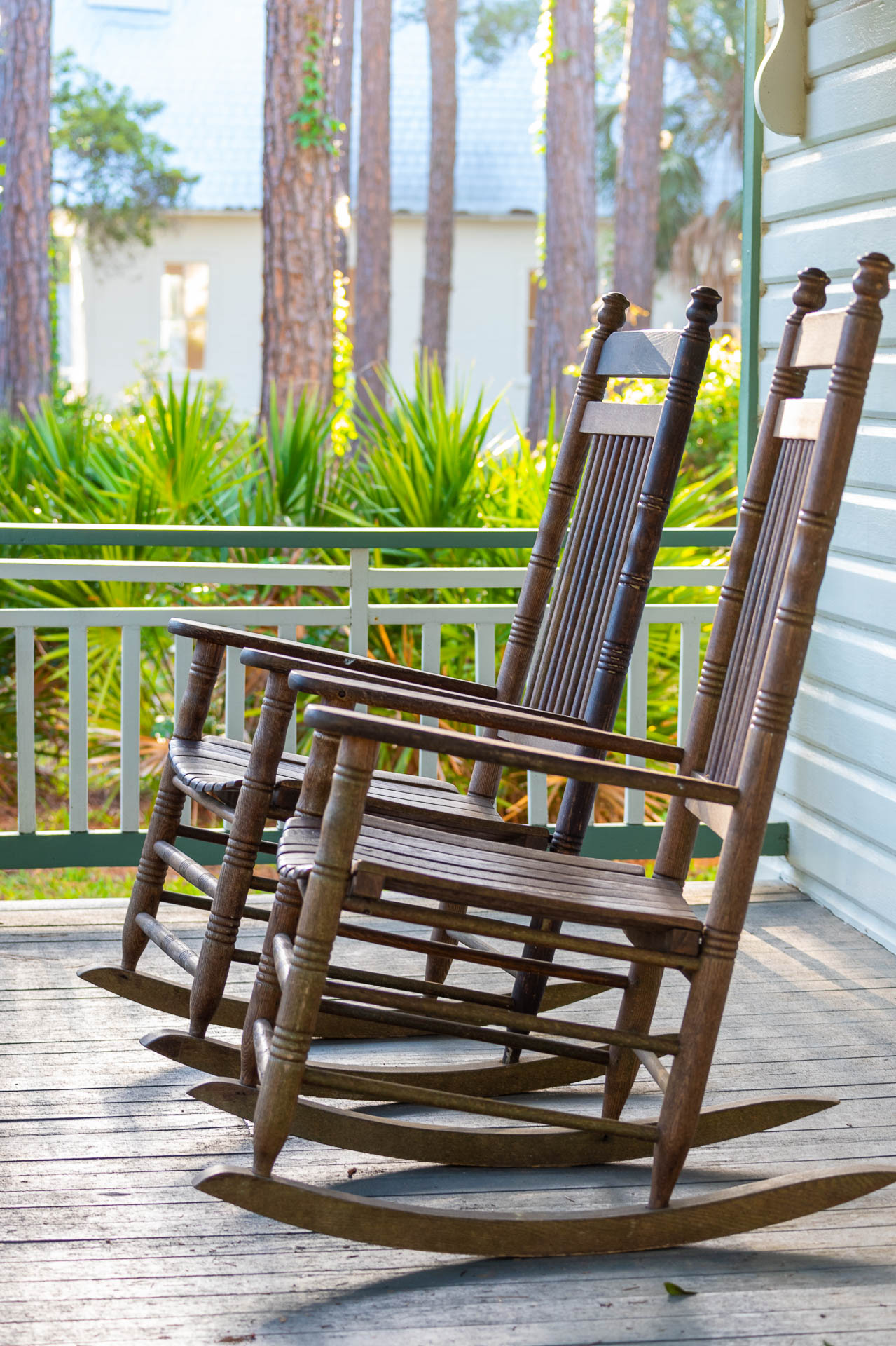 Rocking chairs on the front porch.