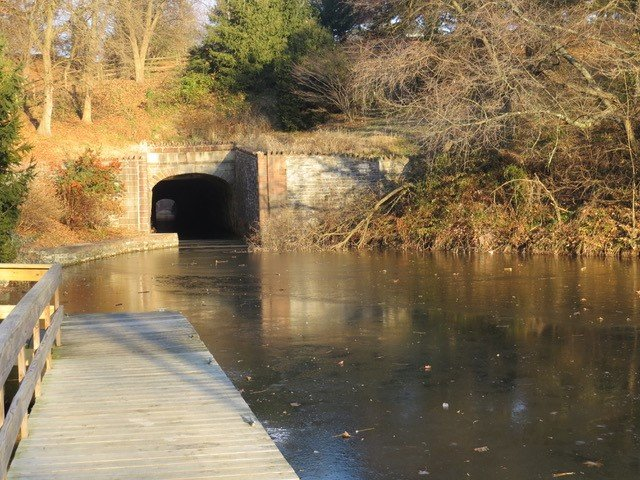 The Union Canal Tunnel now passes under Tunnel Hill Road which runs 80 feet overhead.