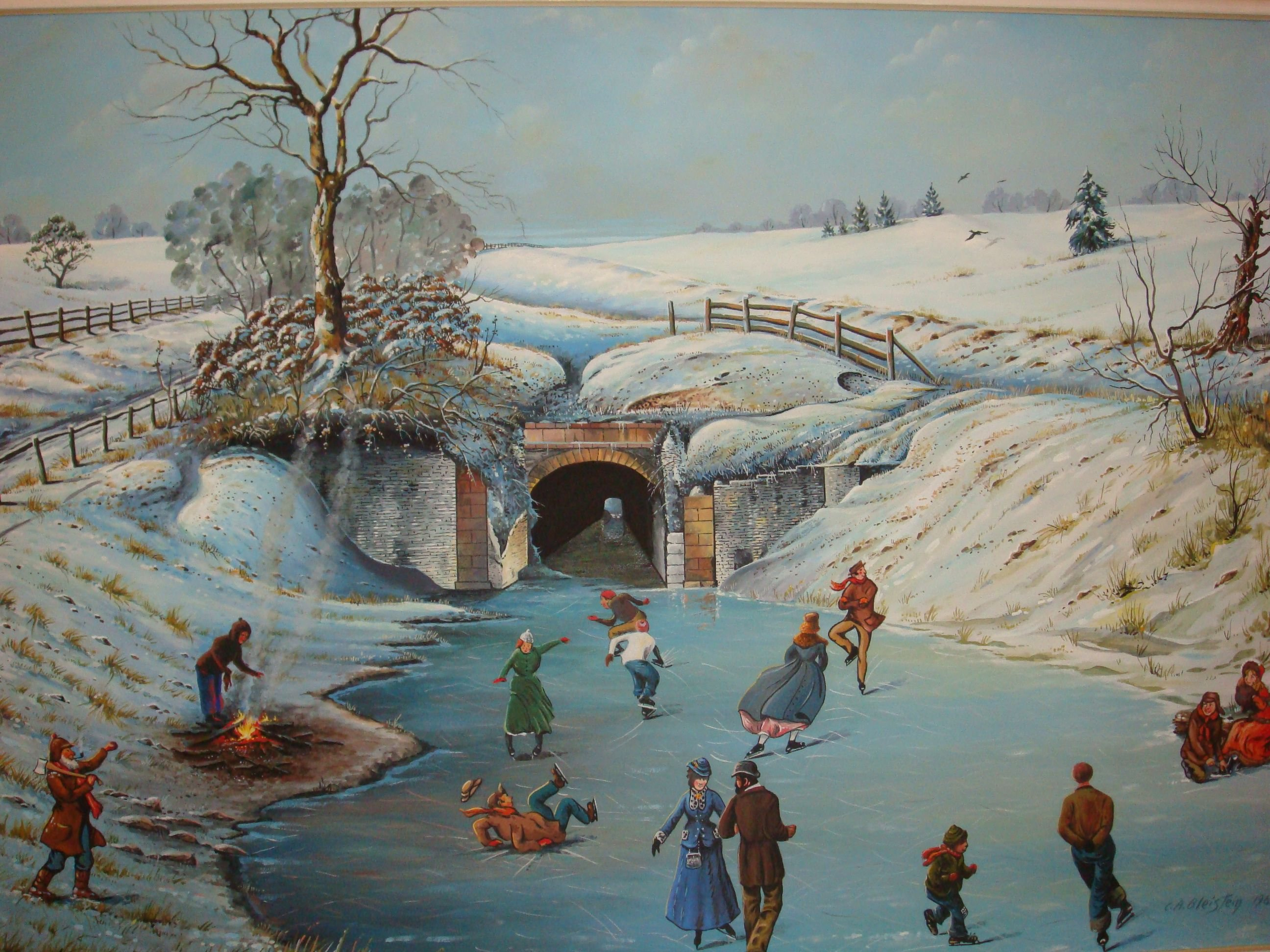 An artist's rendition of what the canal might have looked like in winter.  Due to the ice, the canals were not used in winter.