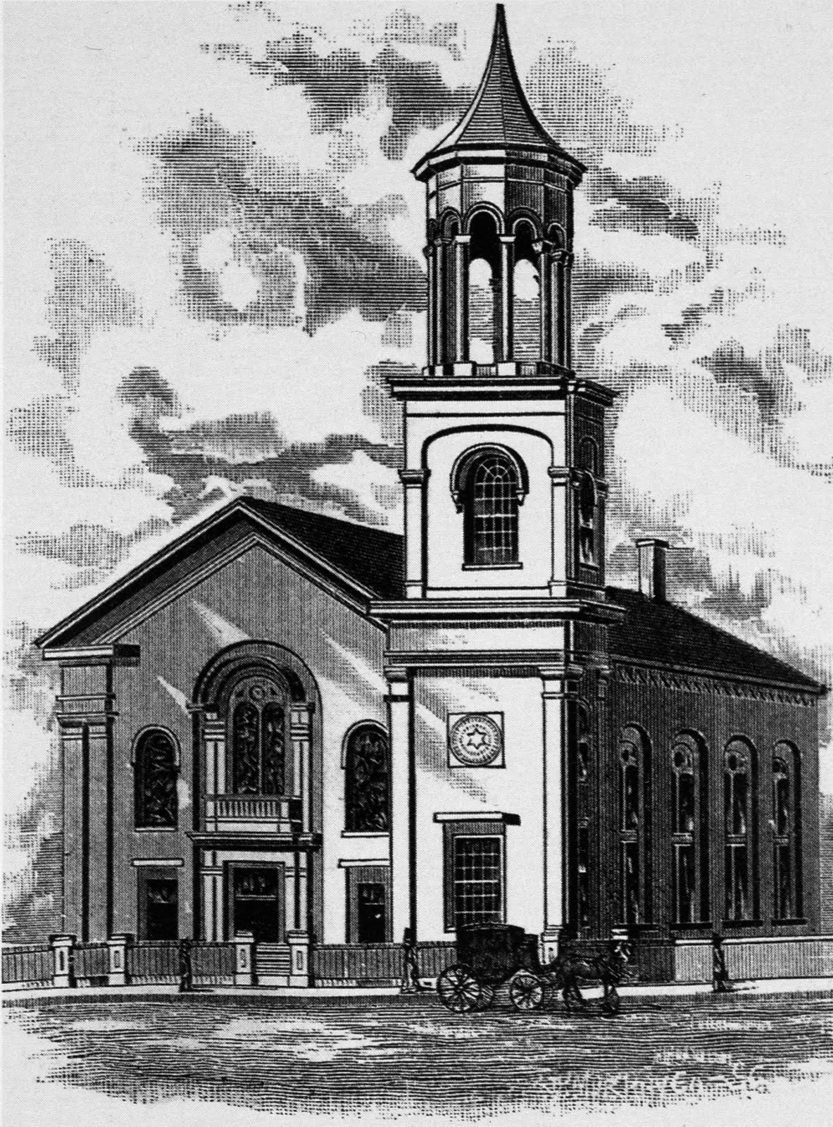 A drawing of Temple Ohabei Shalom's location in the South End from 1887-1928.