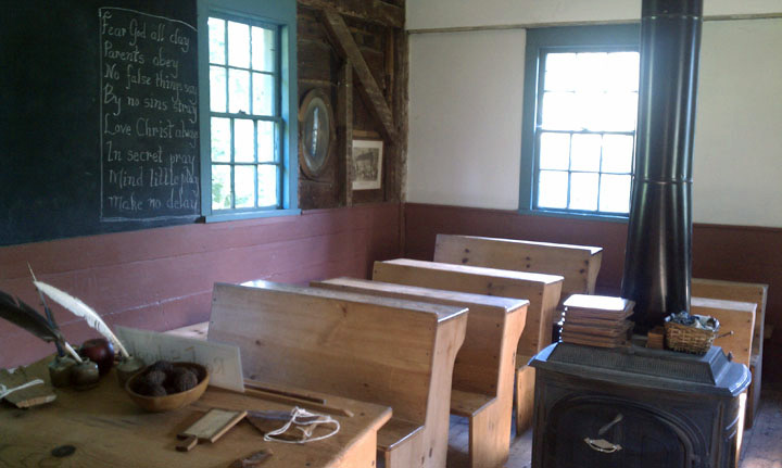 The Rock School features replica old-fashioned desks.