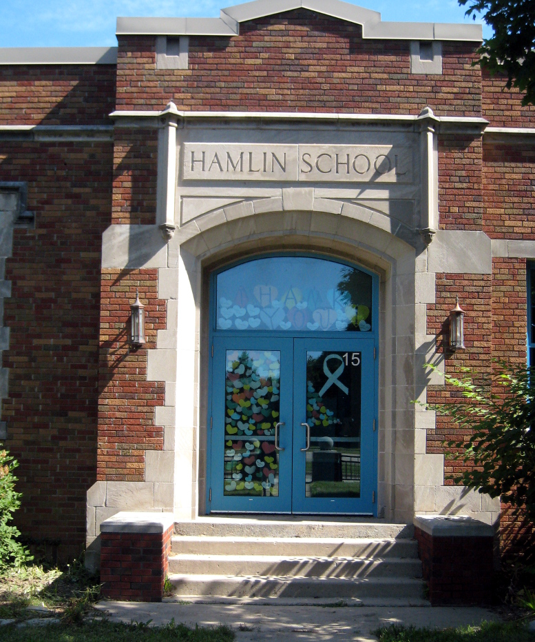 Hamlin School, door on south elevation, 2020