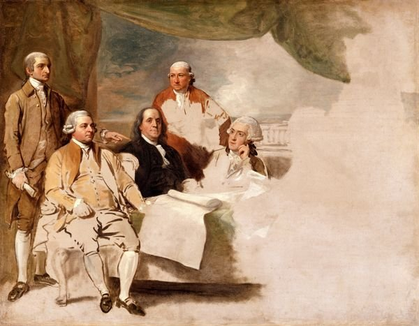 West's unfinished American Commissioners of the Preliminary Peace Negotiations with Great Britain which features John Jay, John Adams, Benjamin Franklin, Henry Laurens and William Temple Franklin.  The British delegation refused to sit.