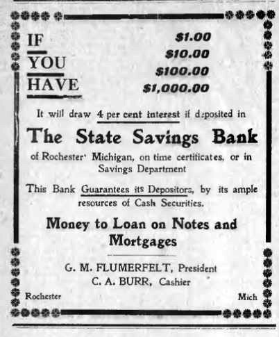 State Savings Bank ad, 1909