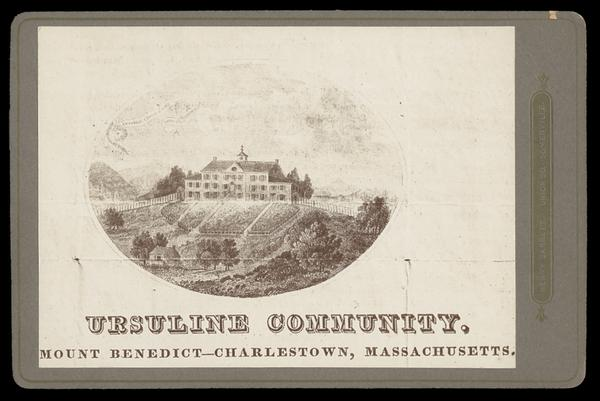 A drawing depicting the Ursuline Convent in Charlestown (now modern day East Somerville)