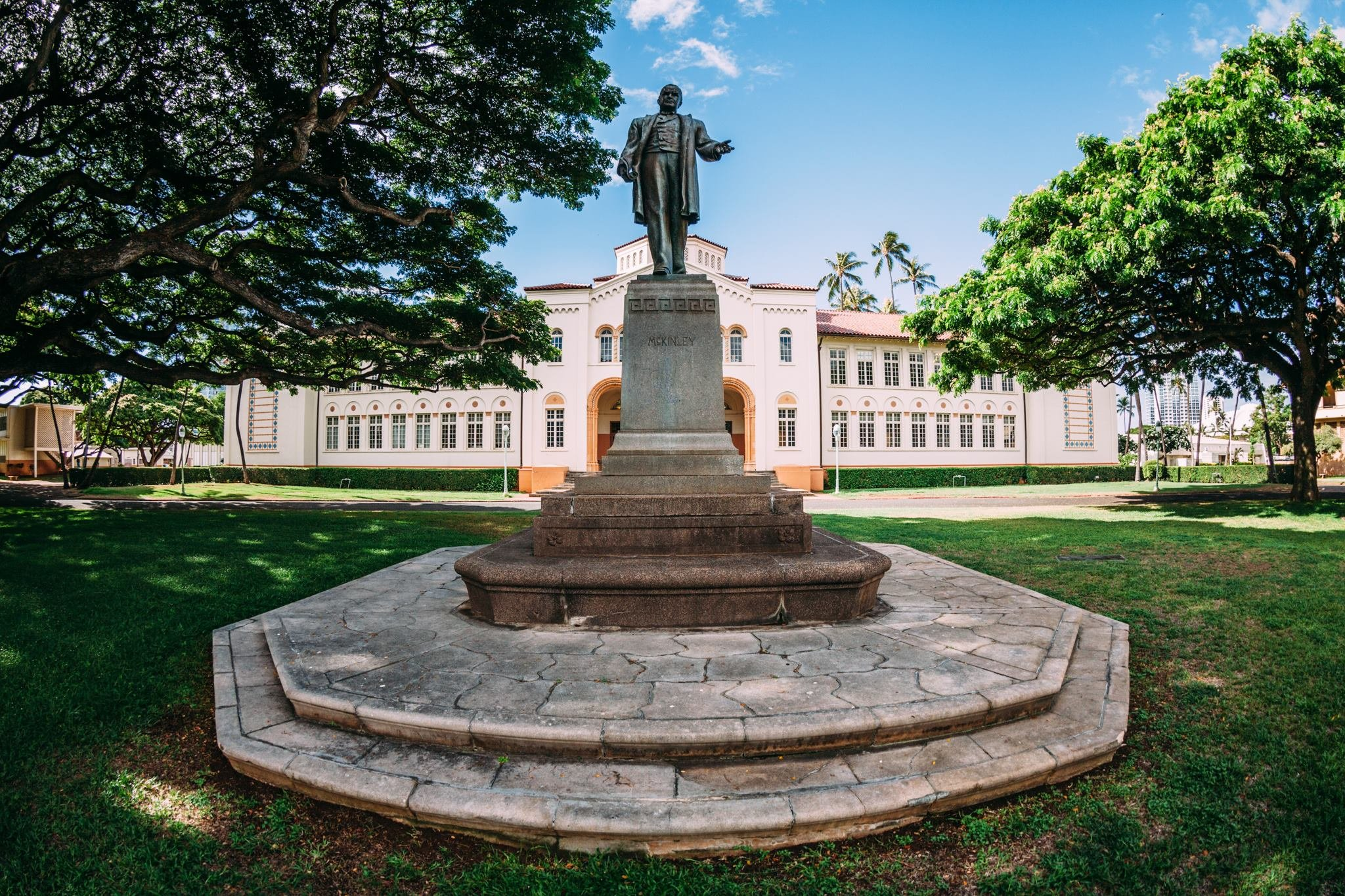 William McKinley Statue in front of McKinley High School in Honolulu.(From school's social media channels.)