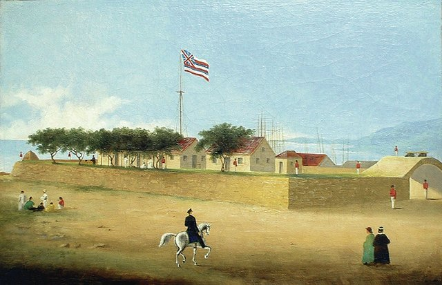 1853 Painting by Paul Emmert -- Fort Street was named for the fort that existed from 1816 until 1857 at Honolulu Harbor; it was about 300 by 340 feet and enclosed nearly 2 acres.