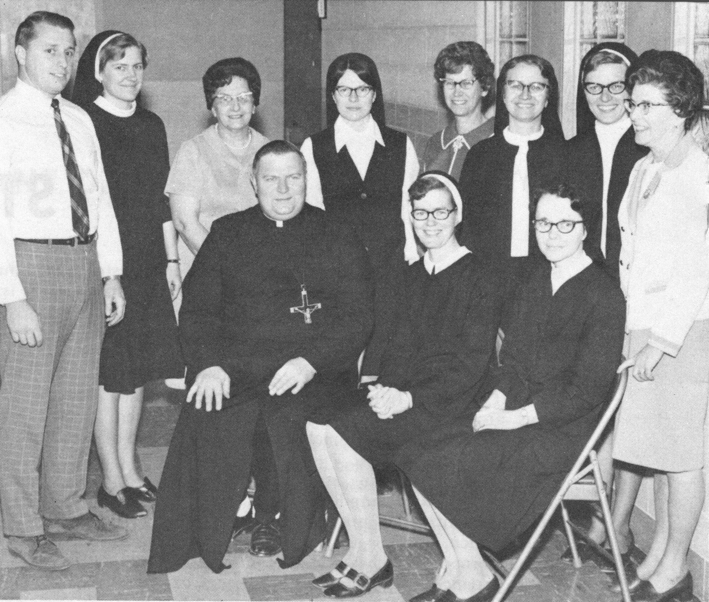 Faculty and staff of St. Louis School, c. 1970.