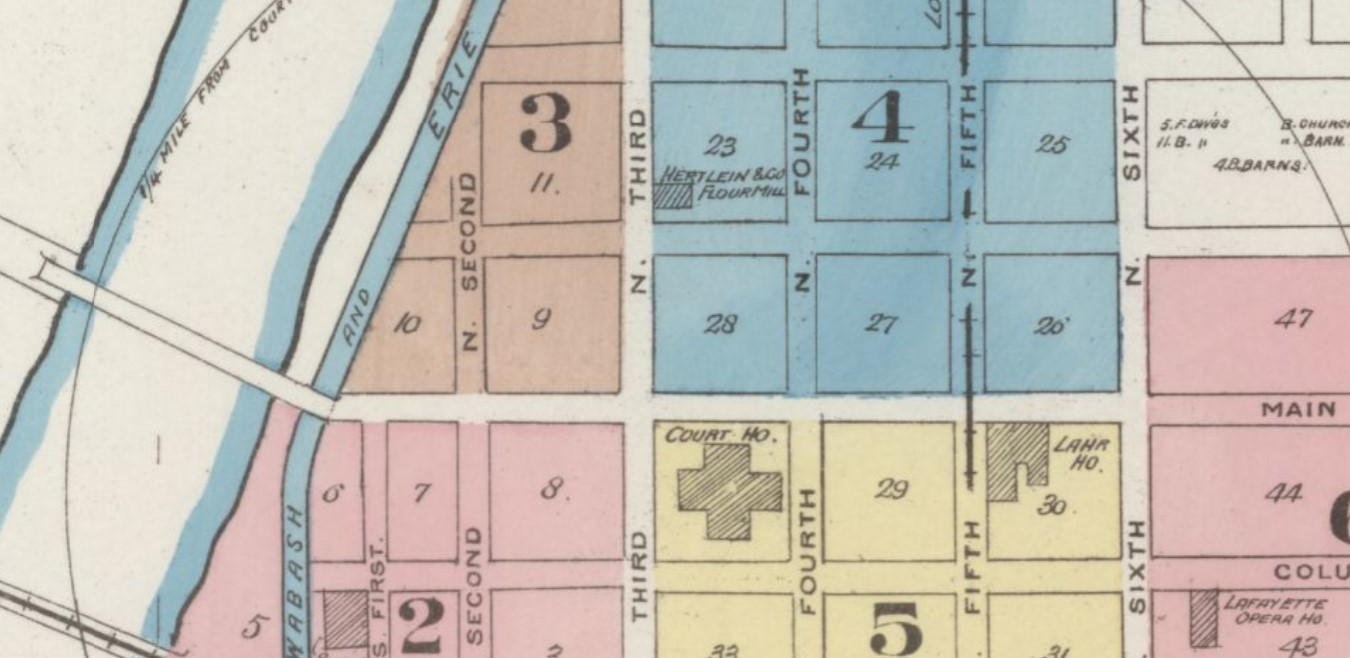 Downtown Lafayette in 1885, 400 block Main St. N side in Square 27; streetcar line on 5th St. (Sanborn Map Company p. 1)