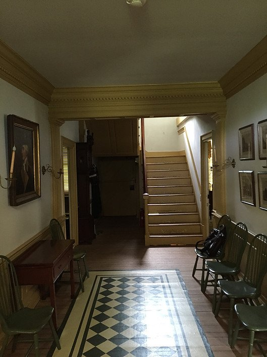 The central hall and stairway within Waynesborough.