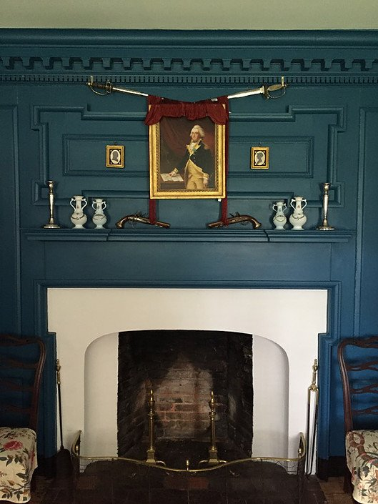 "A portrait of ""Mad"" Anthony Wayne hangs above the fireplace mantle."