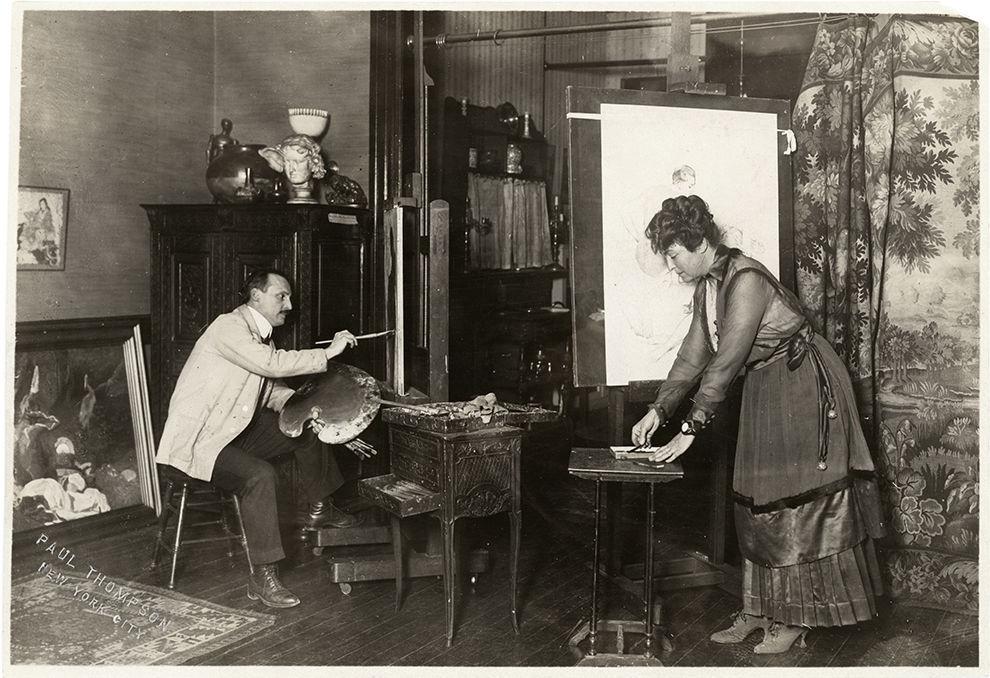 Ernest and Mary Blumenschein at work in their New York studio.