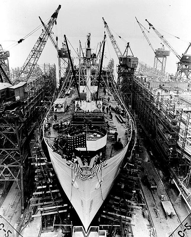 During World War II, most of the plant's steel went to Kaiser's West Coast shipyards for the production of Liberty ships (above) and Victory ships, inexpensive cargo ships that transported war goods.