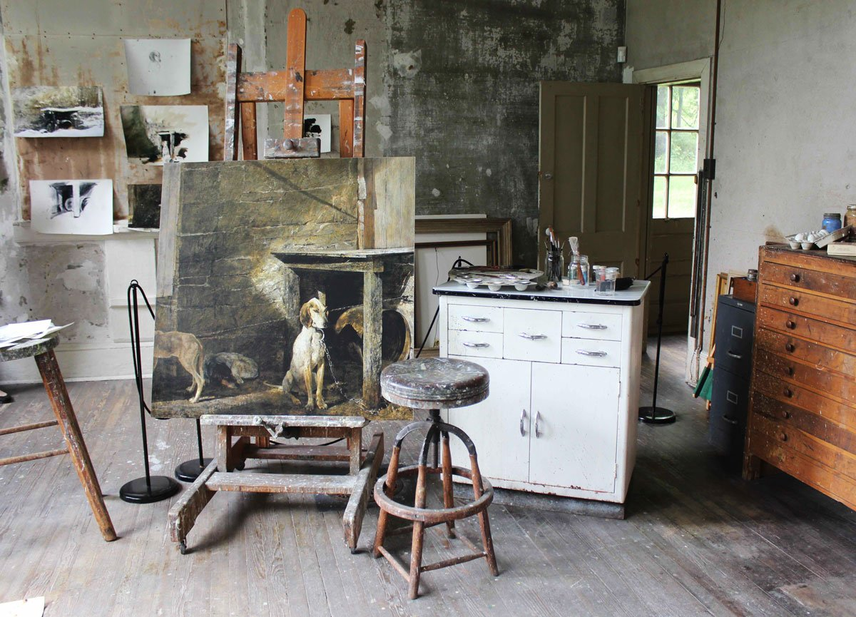 A glimpse inside Wyeth's studio.