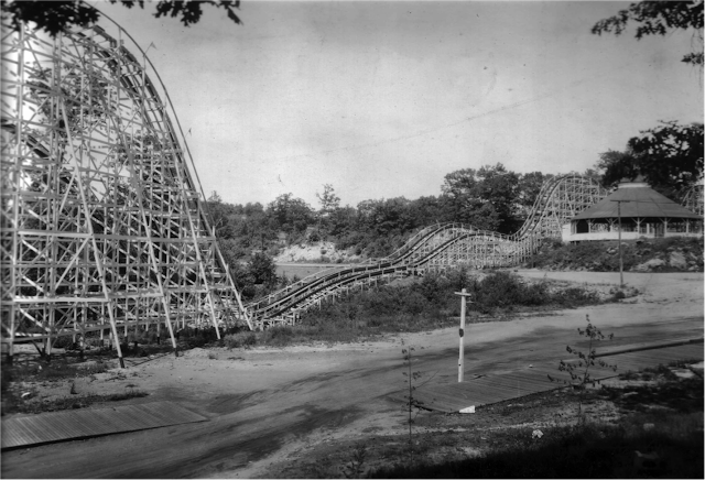 "The ""roller coaster"" from the 1930s sold to a New Hampshire amusement park in 1936 after six years at Lakewood Park. It is still operating. A Mattatuck Museum Collection."