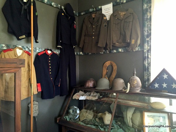 Artifacts on display in the museum's Military Room.