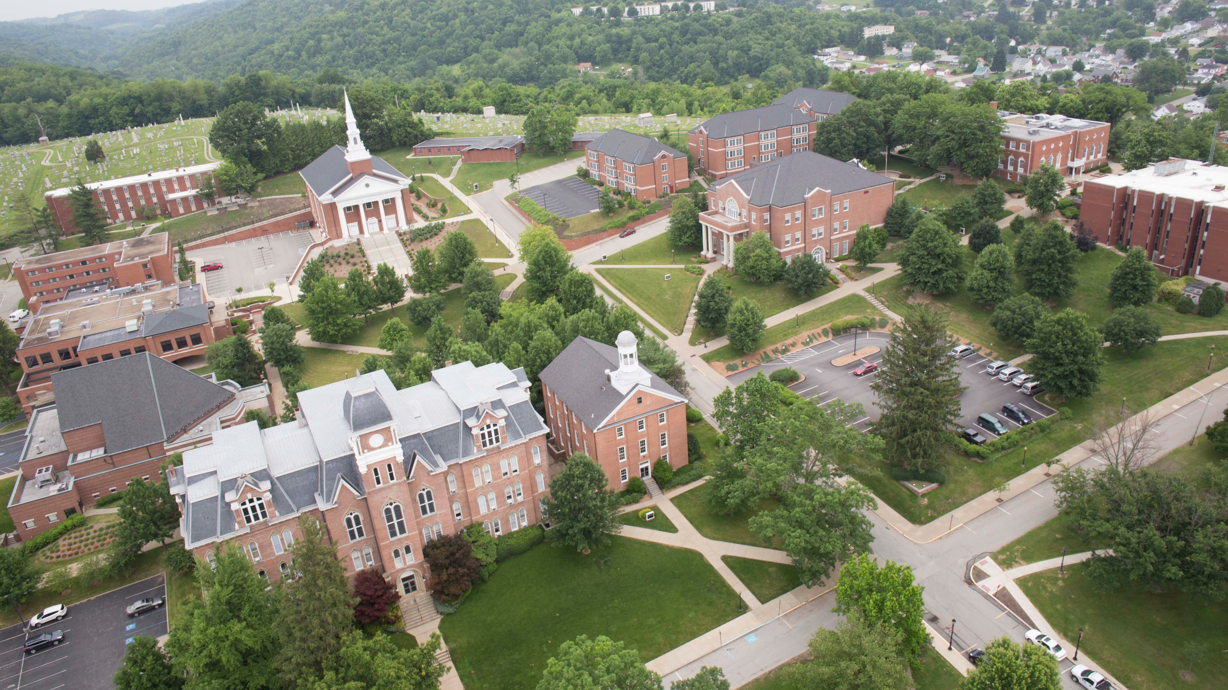 Waynesburg University campus with Miller Hall in the lower left.